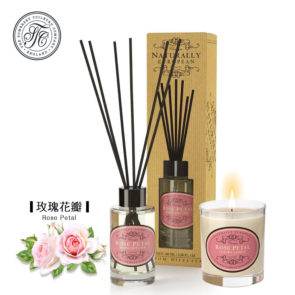 【賽玫特】寵愛香氛組(歐洲時尚擴香+歐洲自然植物蠟香氛蠟燭)玫瑰花瓣
