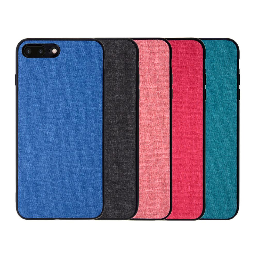 QinD Apple iPhone 8/7 Plus 布藝保護套(格調藍)