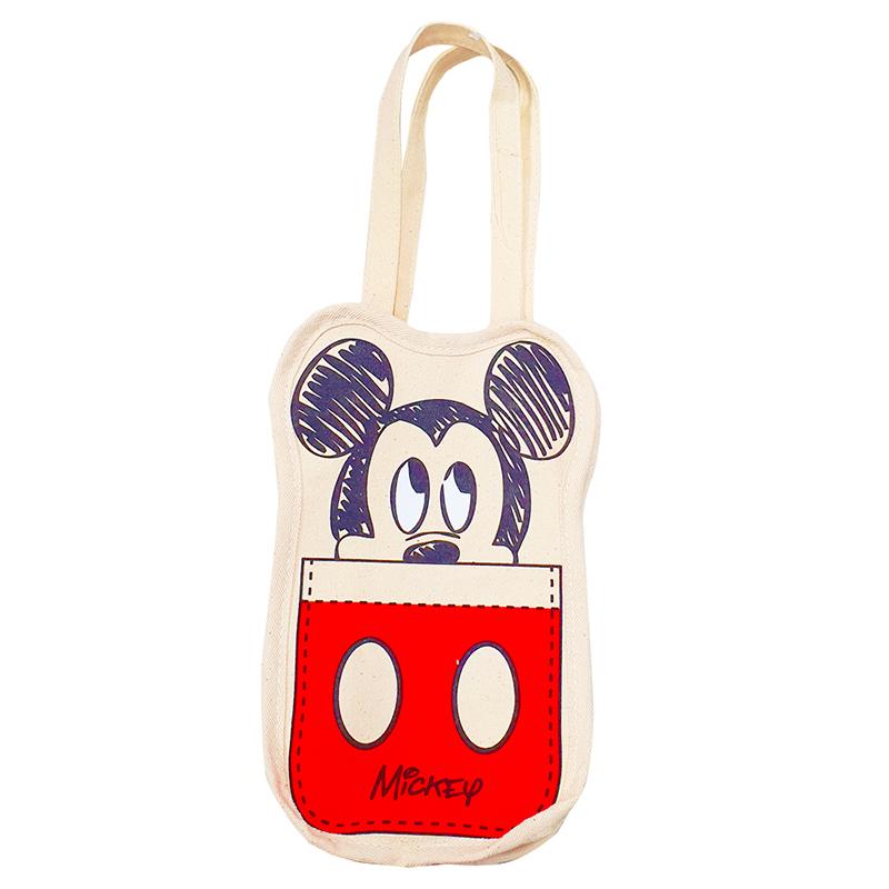 迪士尼系列多功能帆布飲料袋-米奇褲子紅款