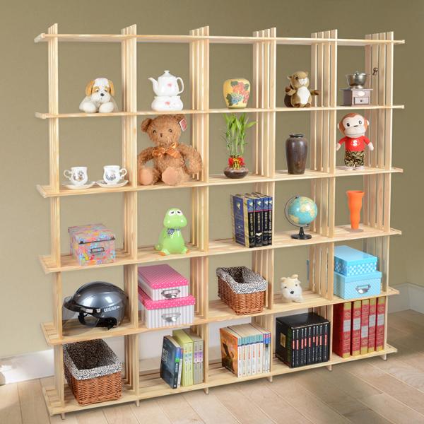 【LIFECODE】極簡風黃松木正二十五格架/實木置物架/書架/花架