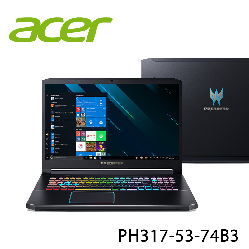 【ACER宏碁】PH317-53-74B3 17.3吋 筆電-送無線鼠+電腦除塵刷(贈品隨機出貨)