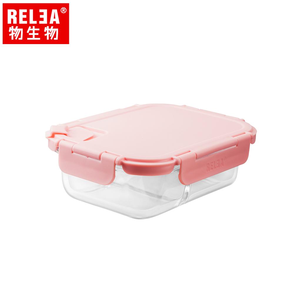 【香港RELEA物生物】640m方形耐熱玻璃微波保鮮盒(馬卡龍粉)