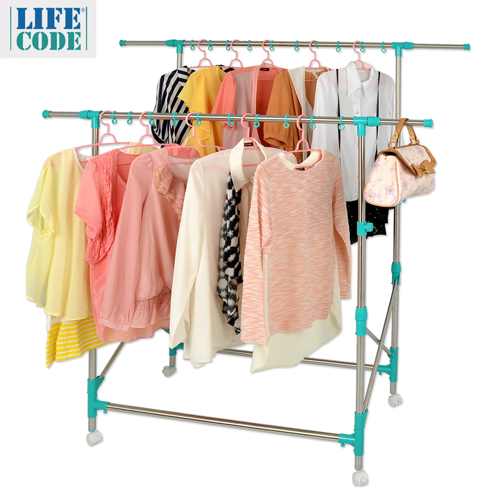 LIFECODE《佳品》雙桿可移動可伸縮不鏽鋼掛衣架/曬衣架(附20個防風圈)