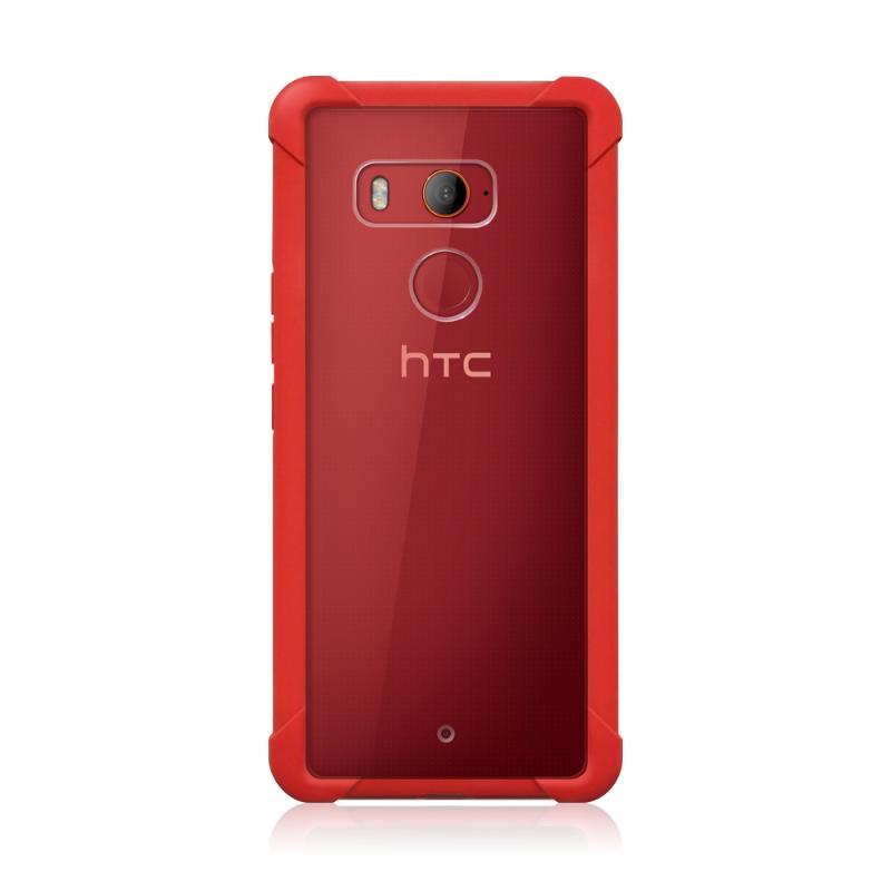 HTC U11+ 透視雙料防震邊框殼-紅