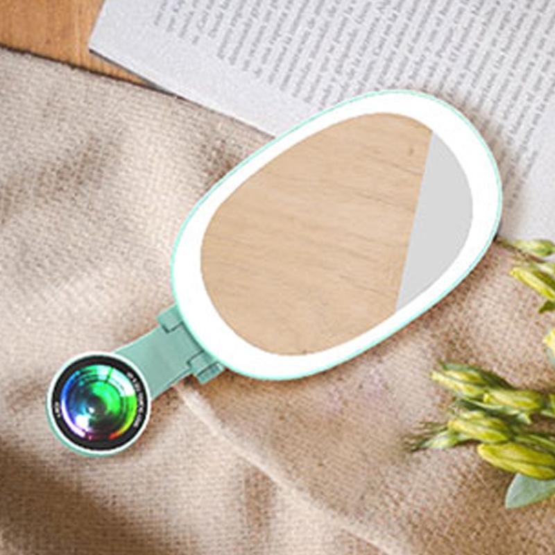 【LIEQI】美肌補光燈花瓣廣角鏡頭冷暖光 自拍鏡 F-528 薄荷綠