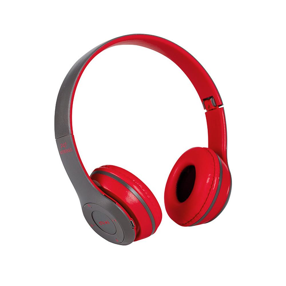立體HIFI雙聲道 重低音 耳罩式藍牙耳機-紅色