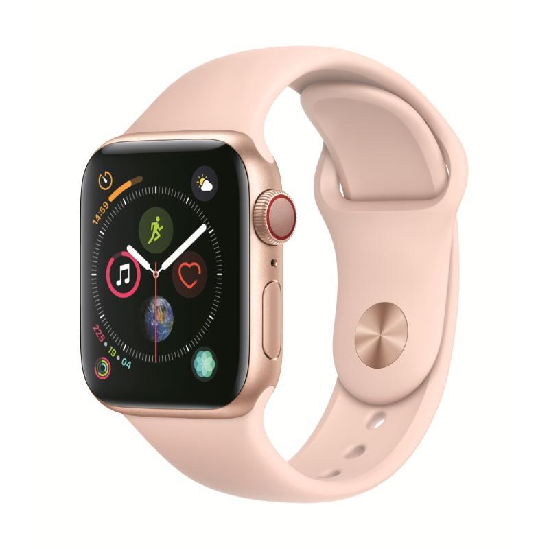 Apple Watch S4 LTE 40mm 金色鋁金屬-粉沙色運動型錶帶