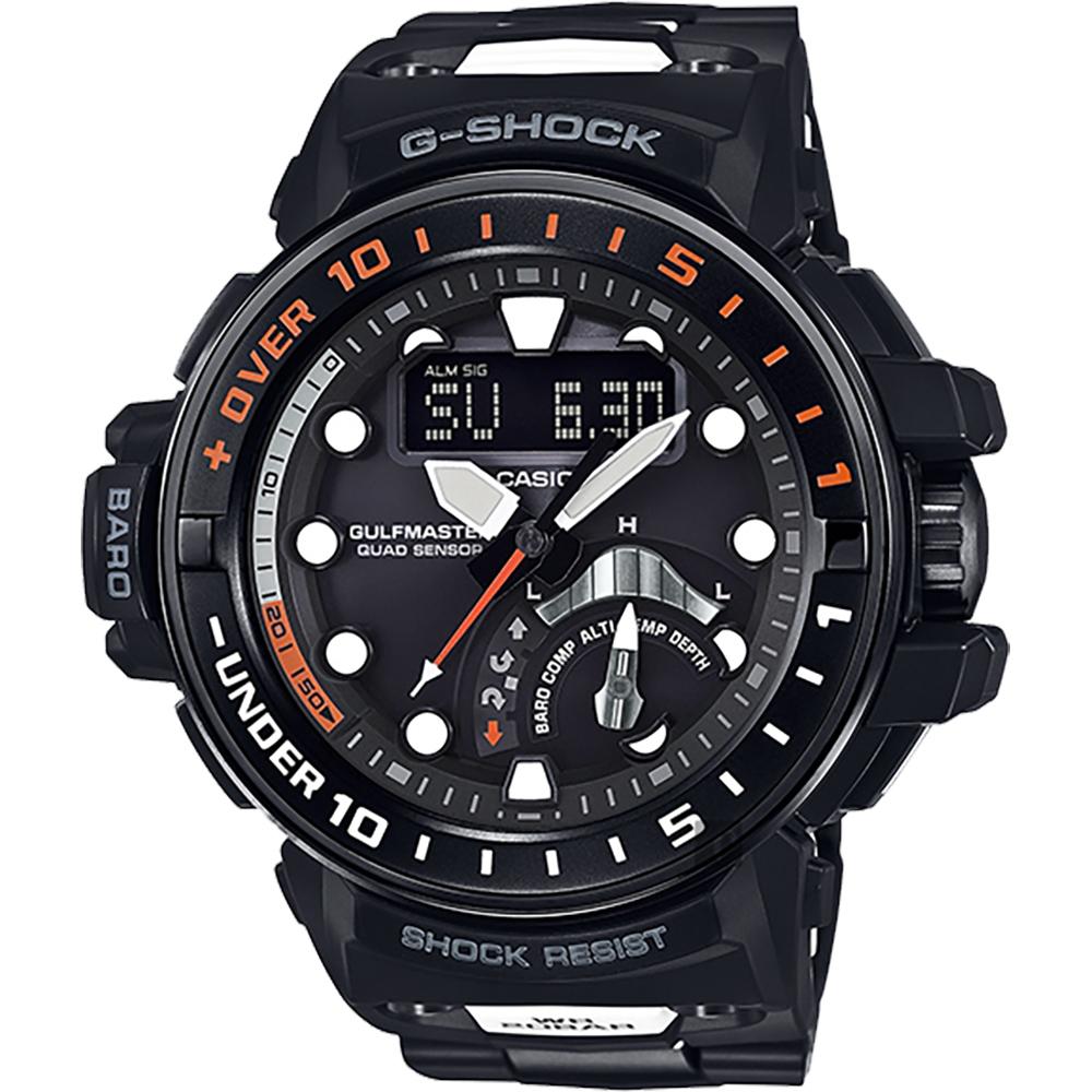 CASIO卡西歐 G-SHOCK MASTER 海軍進階版太陽能電波手錶-橘/57.3mm GWN-Q1000MC-1A