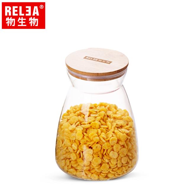 買1送1【香港RELEA物生物】1100ml竹蓋梯形耐熱玻璃儲物罐