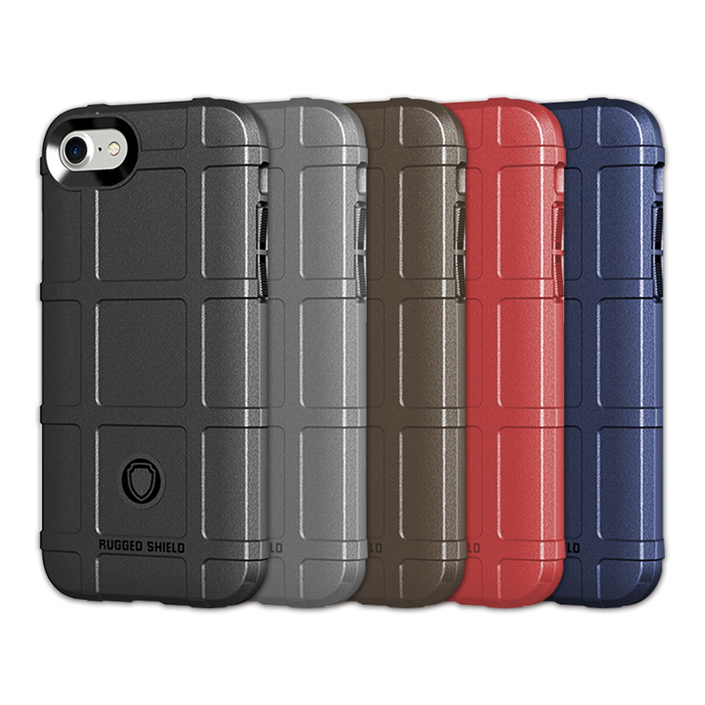 QinD Apple iPhone 8/7 戰術護盾保護套(藍色)