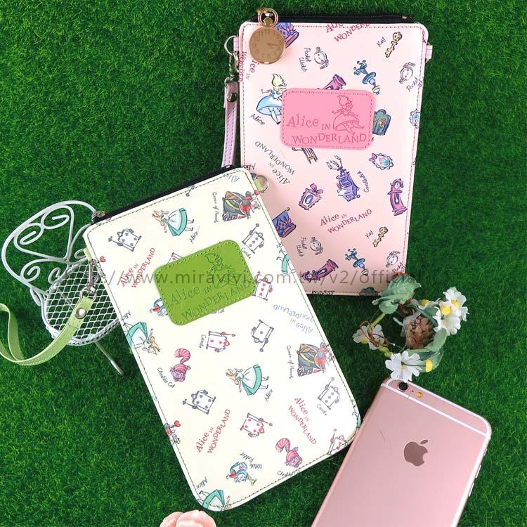【Disney】迪士尼愛麗絲夢遊仙境直式手機包/萬用袋-綠