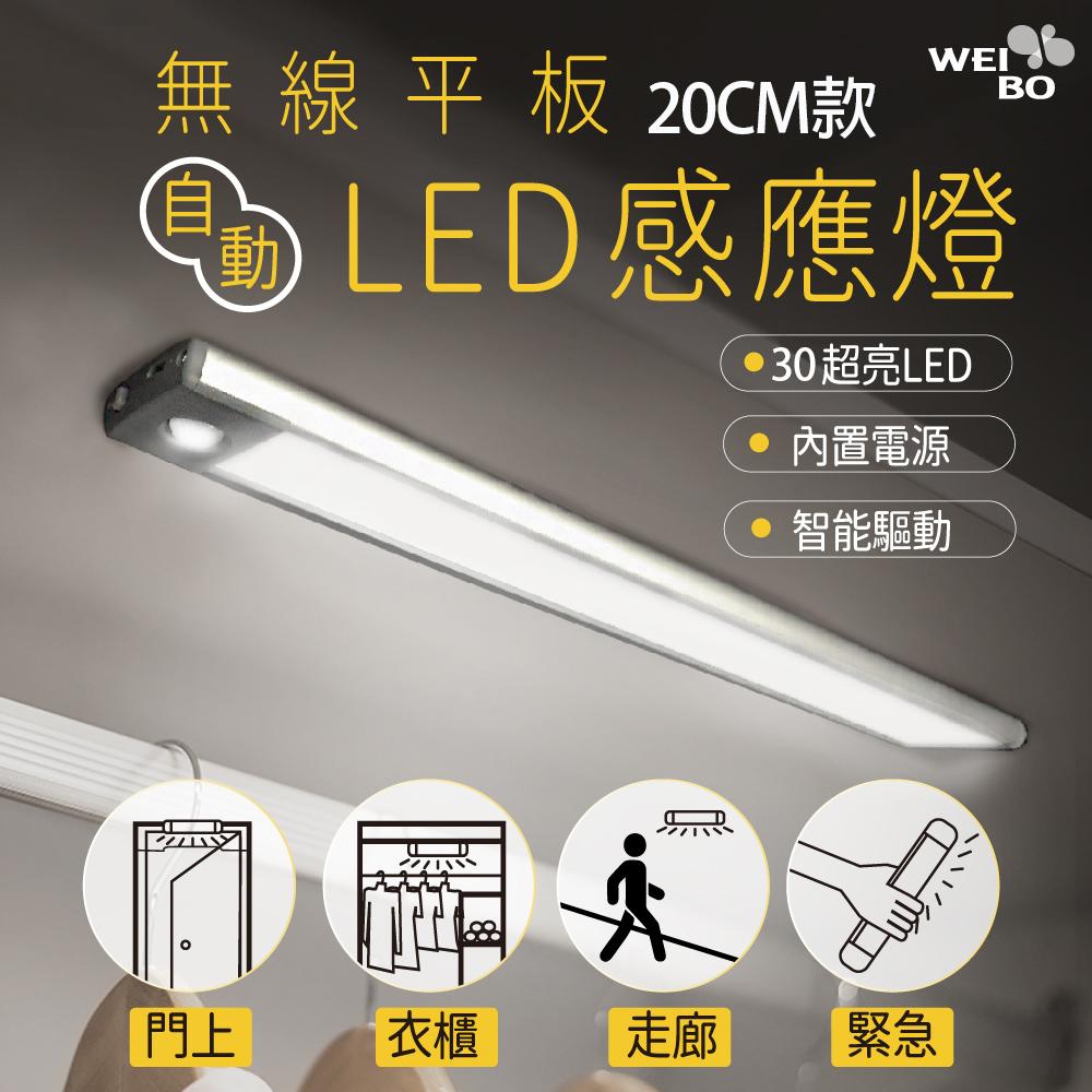 WEI BO原廠 磁吸式無線平板自動感應燈 內置30顆LED燈(20公分) (內置裡聚合物電池免牽線)萬用燈