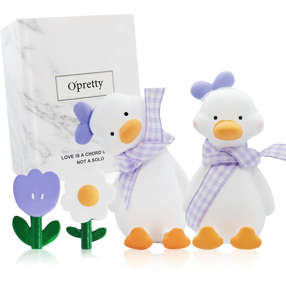 O'Pretty 歐沛媞 車用香氛擴香石擺飾-元氣加油鴨禮盒(紫色)