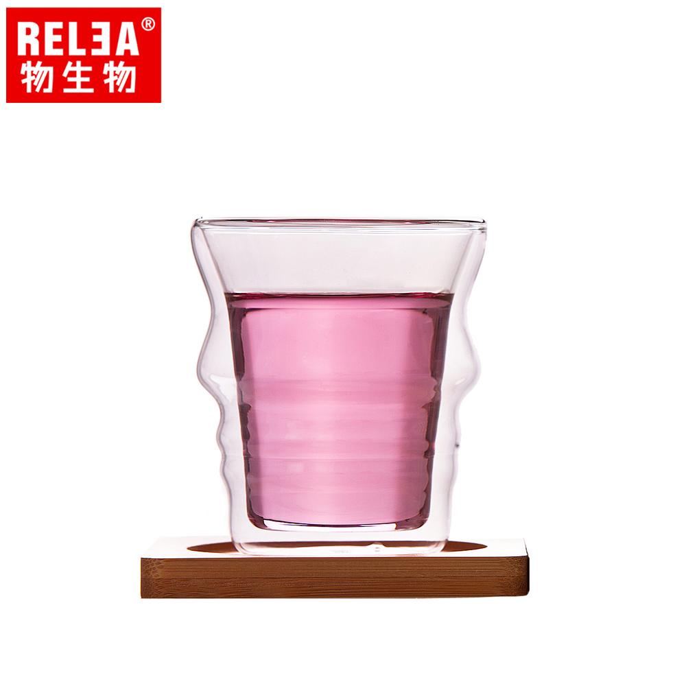 買1送1【香港RELEA物生物】210ml側顏曲線雙層耐熱玻璃杯(附竹製底座)