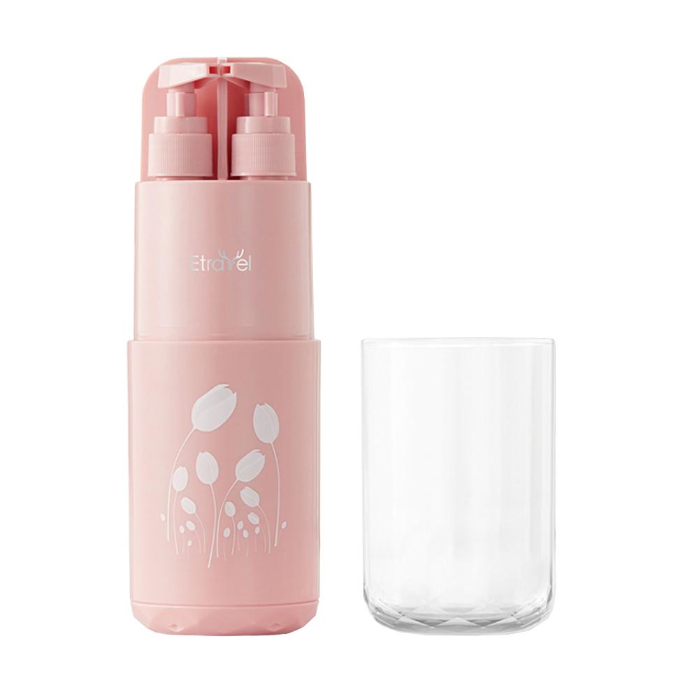 【FJ】輕便旅行環保洗漱杯5件組(旅遊必備)粉色
