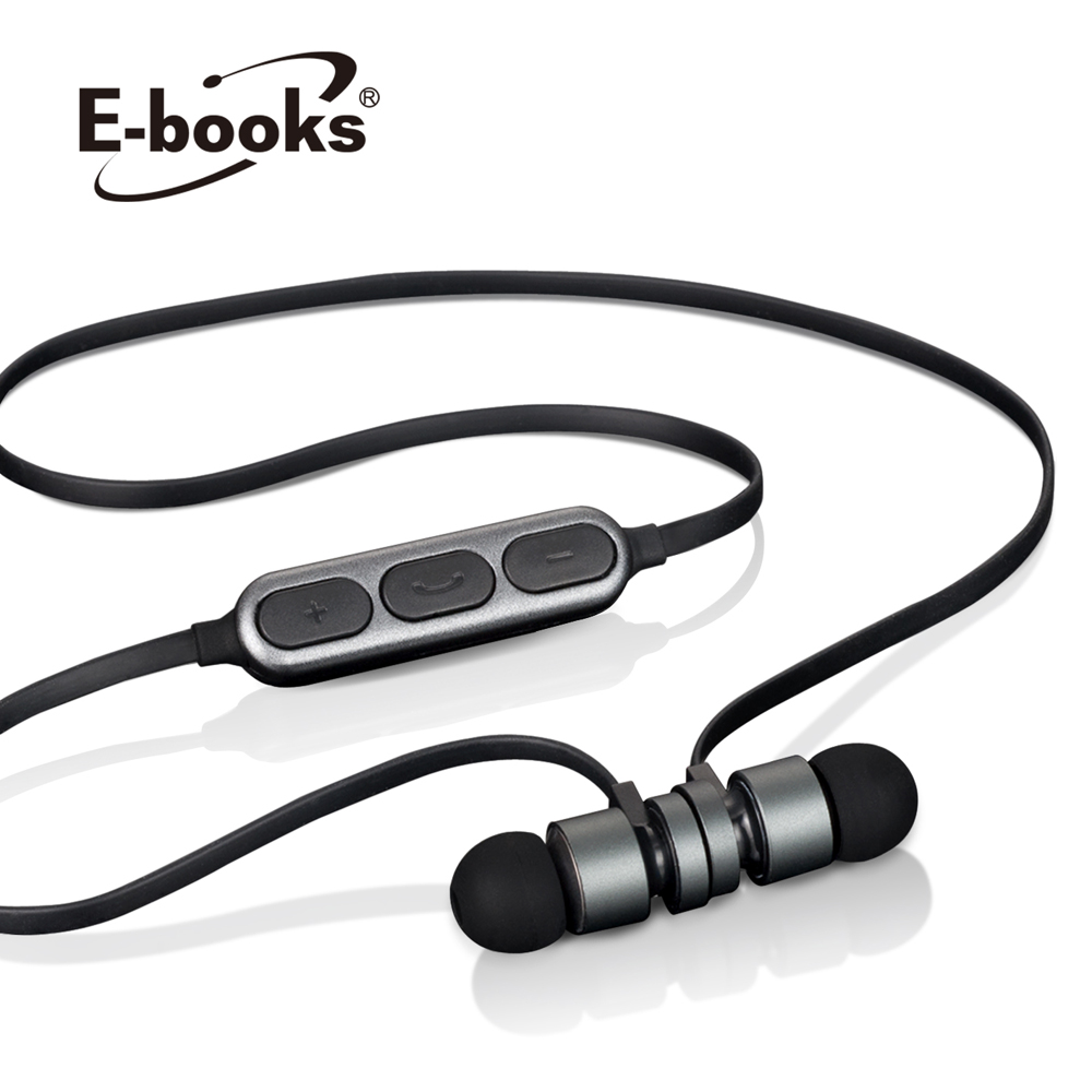 E-books S81 藍牙4.2無線磁吸入耳式耳機-鐵灰