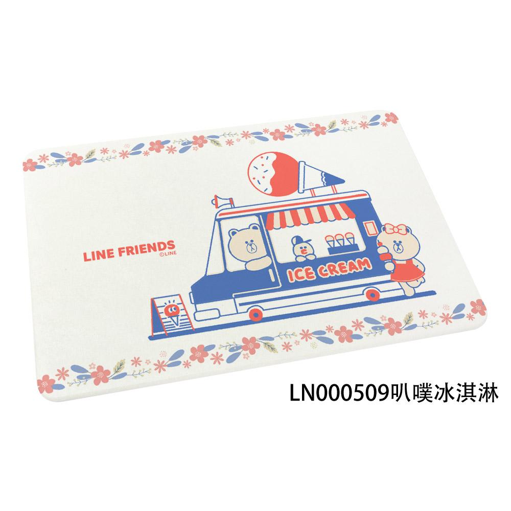 【LINE FRIENDS】插畫風 珪藻土地墊//叭噗冰淇淋