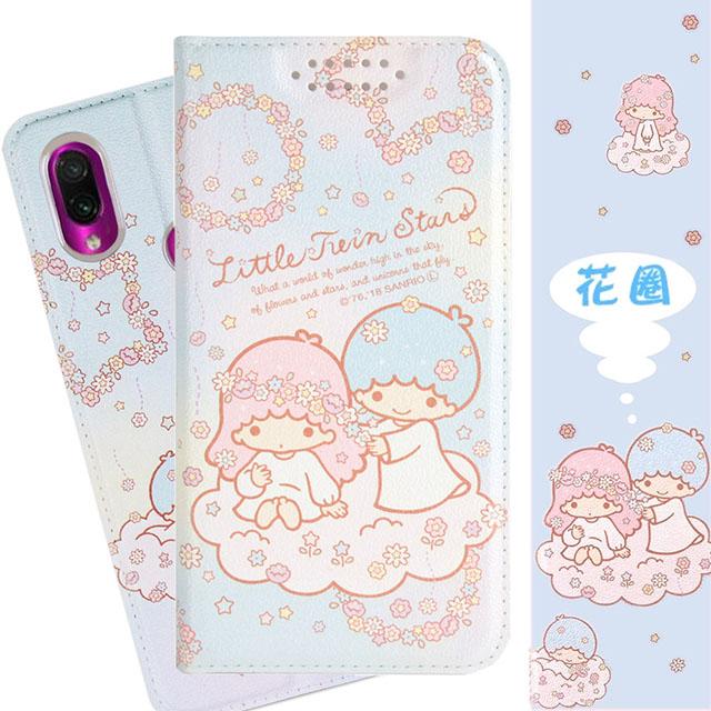 【雙子星】紅米7 甜心系列彩繪可站立皮套(花圈款)
