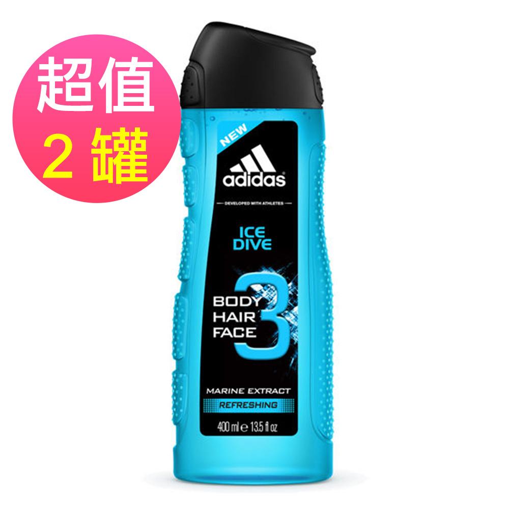adidas愛迪達 男用三效潔顏洗髮沐浴露(品味透涼)x2罐(400ml/罐)