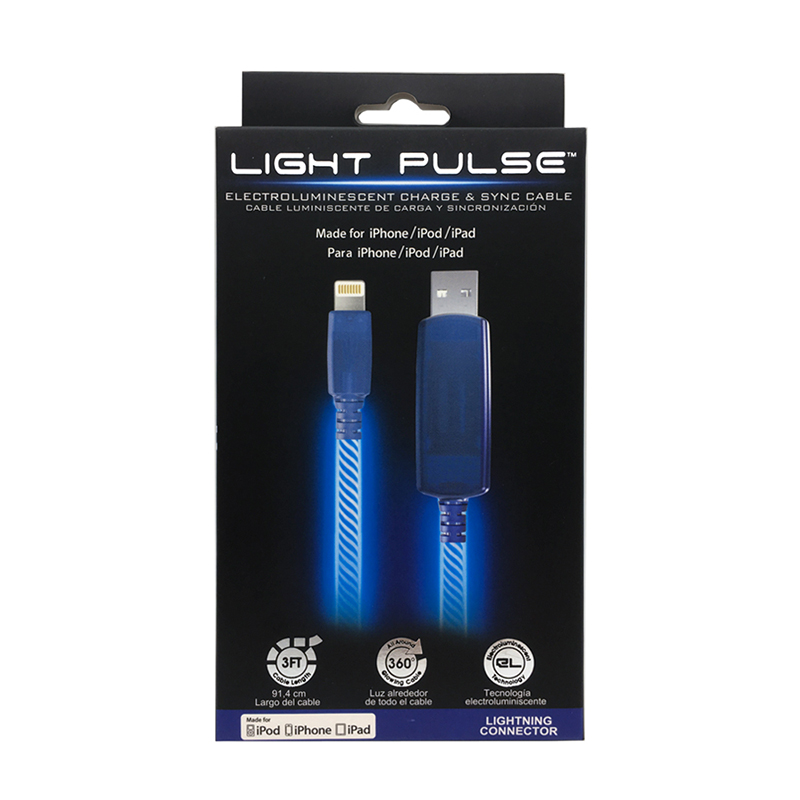 PILOT EL發光 MFi認證 APPLE充電傳輸線 90cm-藍