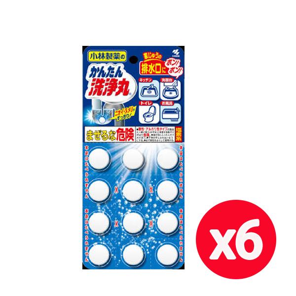 小林製藥 排水管除垢錠-無香(12錠) *6組
