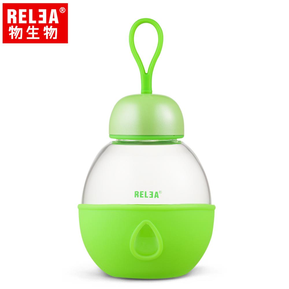 買1送1【香港RELEA物生物】400ml可儷耐熱玻璃防燙隨身杯(抹茶綠)贈送款顏色隨機出貨