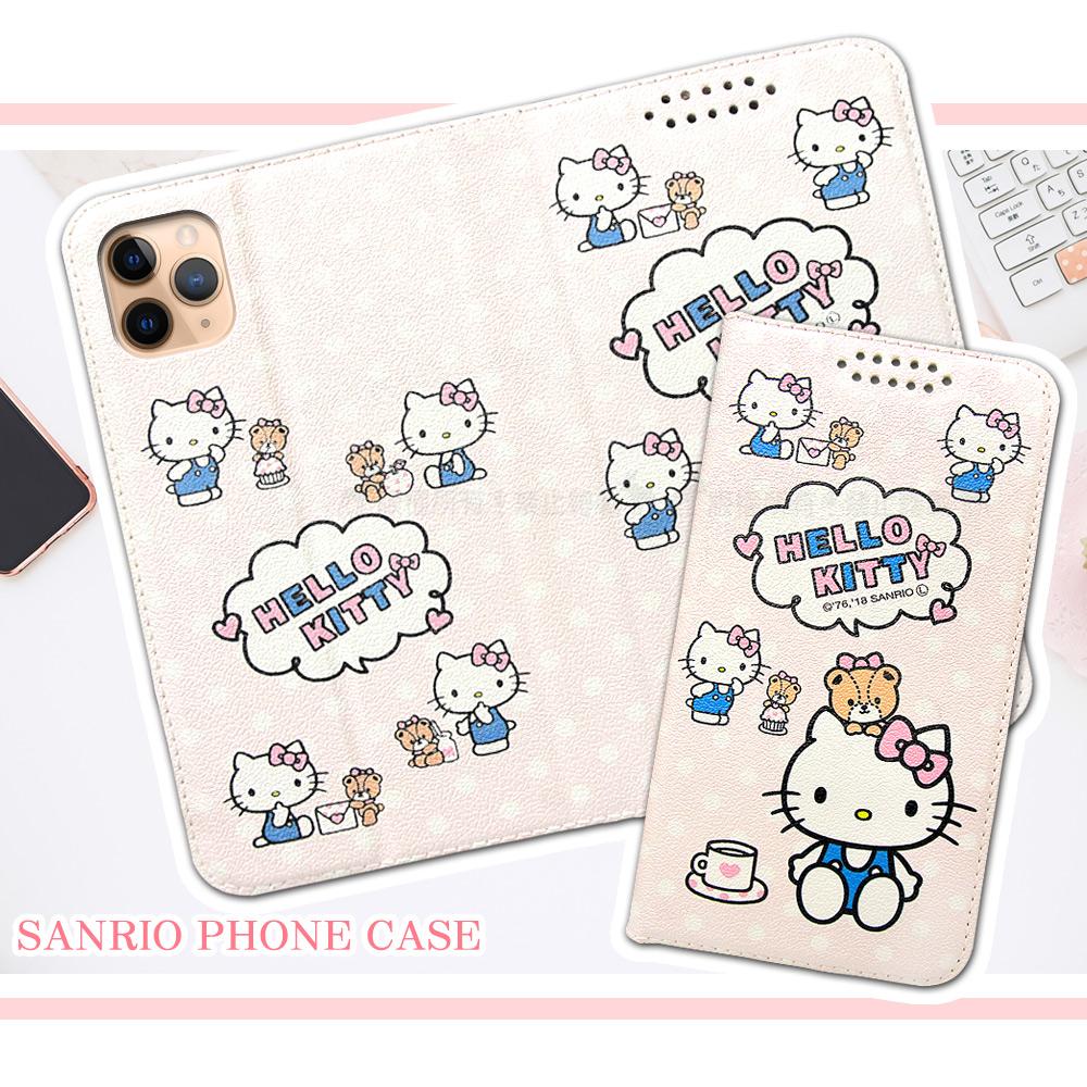 三麗鷗授權 Hello Kitty貓 iPhone 11 Pro Max 6.5吋 粉嫩系列彩繪磁力皮套(小熊)