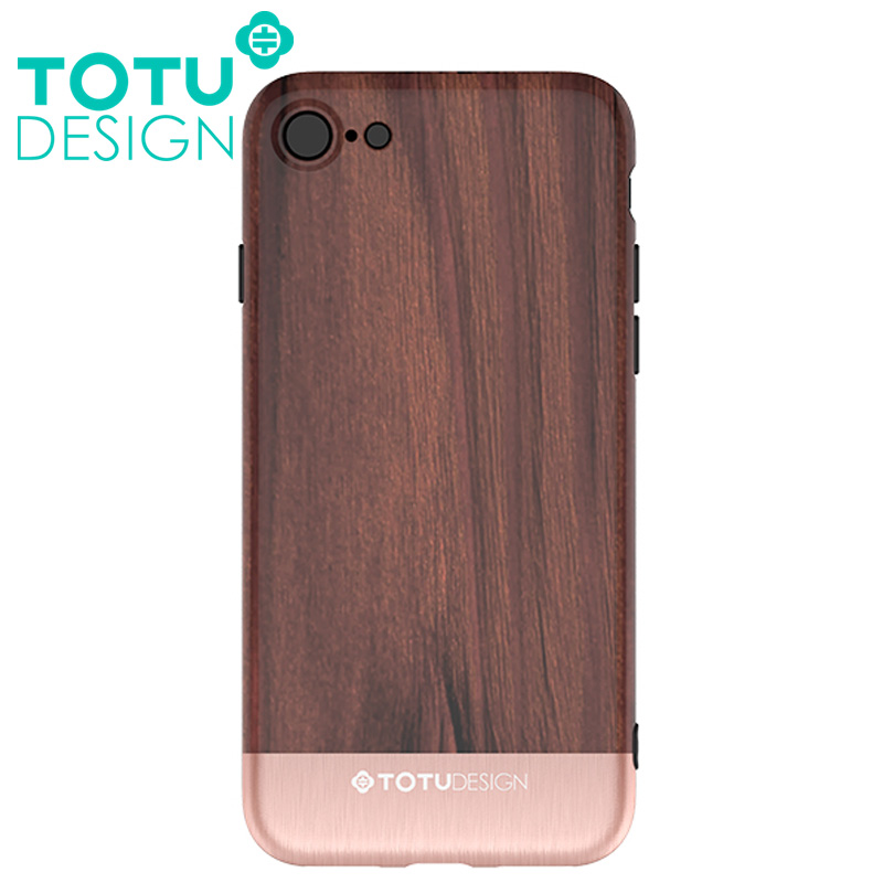 【TOTU台灣官方】悅木系列 iPhone 8 7 i8 i7 手機殼 四角 全包 軟殼 保護套 掛繩孔 玫瑰金紫檀木