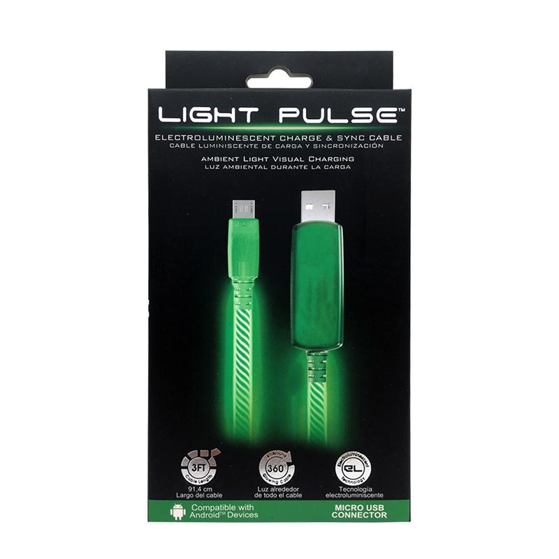 PILOT EL發光 Micro充電傳輸線 90cm-綠