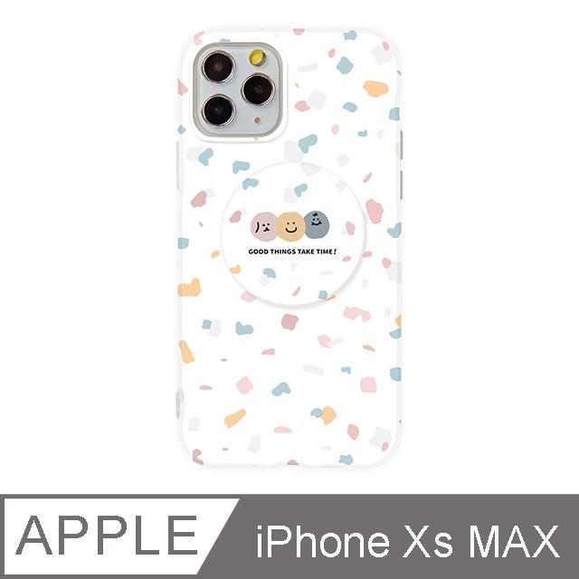 iPhone Xs Max 6.5吋 Smilie笑臉水磨石氣囊支架iPhone手機殼 碎花三胞胎