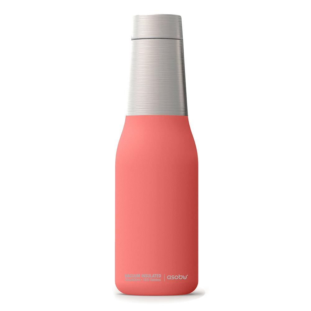 Asobu 不鏽鋼繽紛雙層保溫瓶-蜜桃粉
