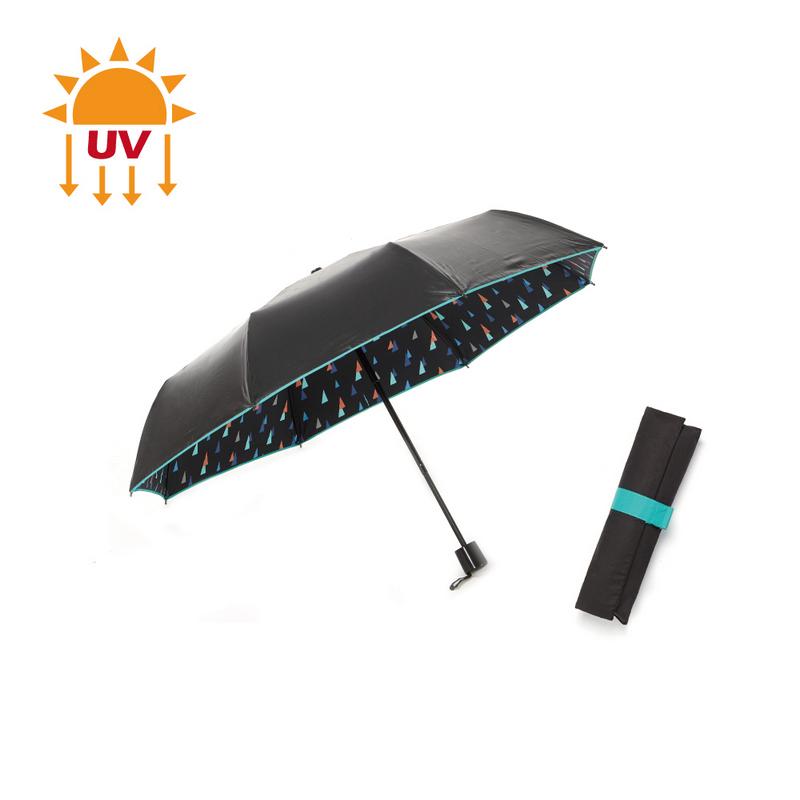 【完美防曬】零透光黑膠加大手開傘-幾何綠