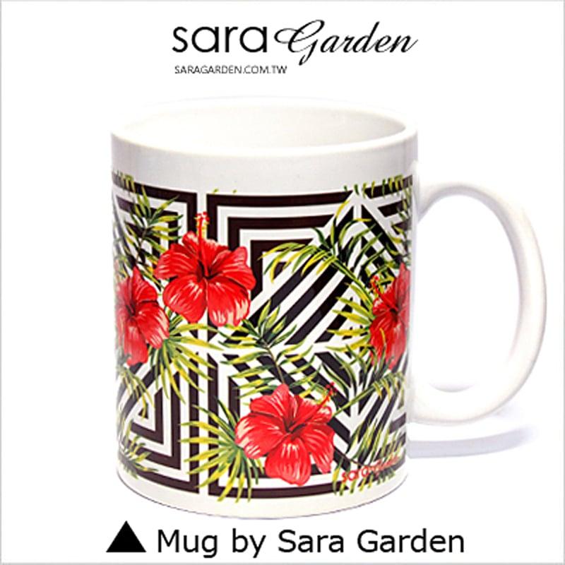 【Sara Garden】客製 手作 彩繪 馬克杯 Mug 質感 叢林 大花 圖騰 咖啡杯 陶瓷杯 杯子 杯具 牛奶杯 茶杯