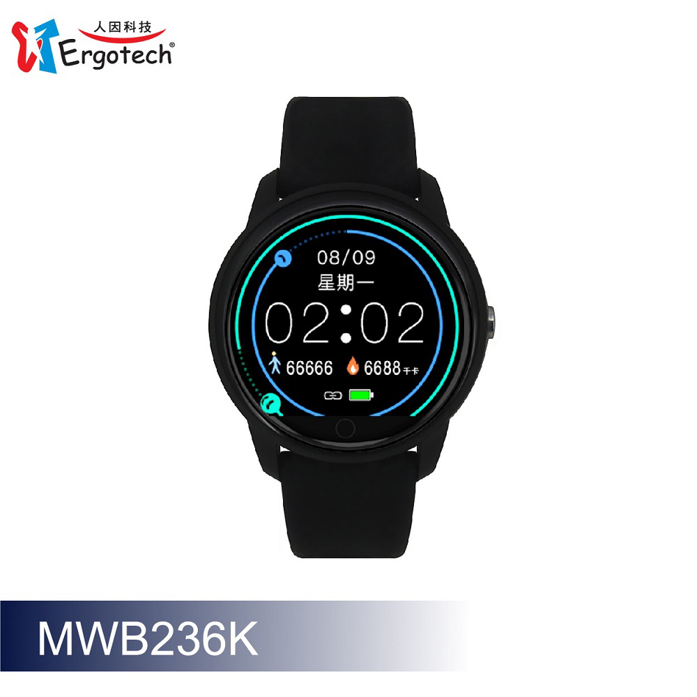 ERGOLINK人因科技 全圓心率智慧監測運動手錶-黑色 MWB236