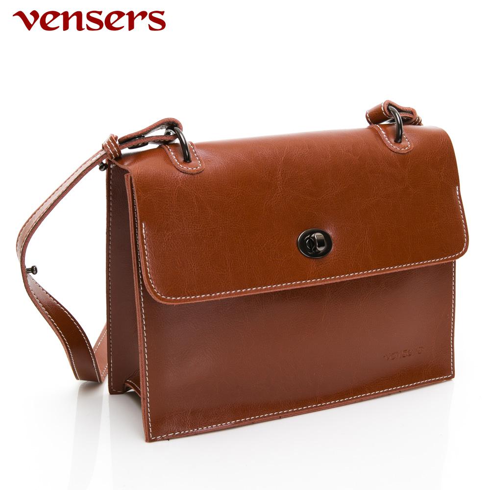 【vensers】小牛皮潮流個性包~斜肩背包(NL1085301棕色)