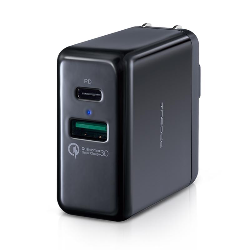 PROBOX Type A+C 雙孔USB PD/QC3.0急速充電器-黑