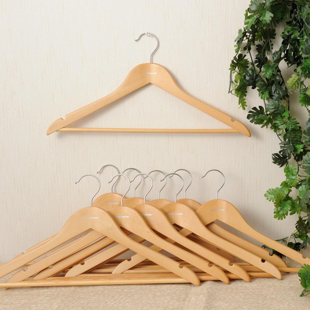 超值木衣架10入組-原木色-生活工場