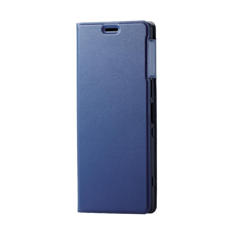 ELECOM Xperia 1/軟皮革殼套/薄型/磁石付/海軍藍