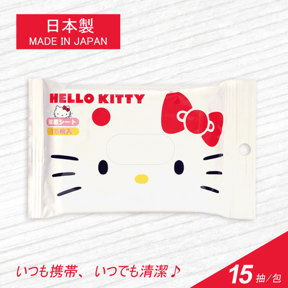 【買三送三】日本SANTAN抗菌濕紙巾15抽-Hello Kitty