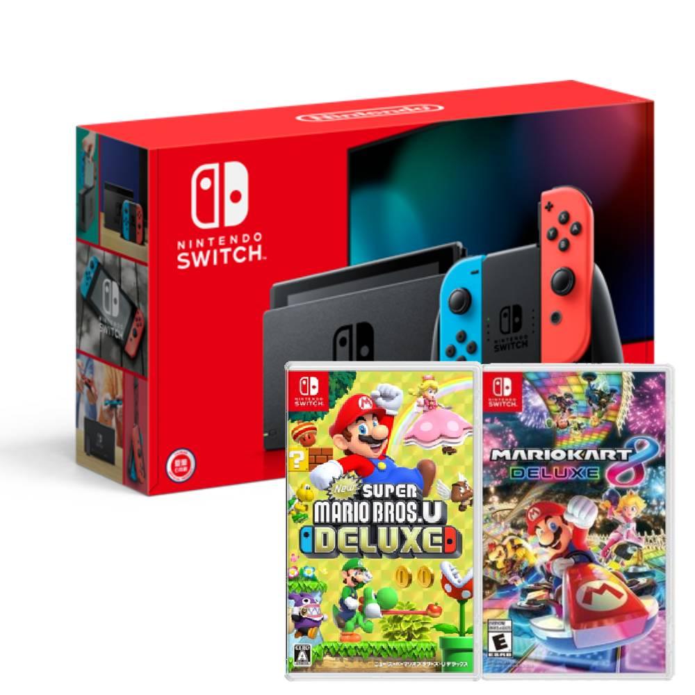 【預購】Nintendo Switch主機電光紅藍(電池加強版)+超級瑪利歐兄弟U中文豪華版+瑪利歐賽車8豪華版中文版