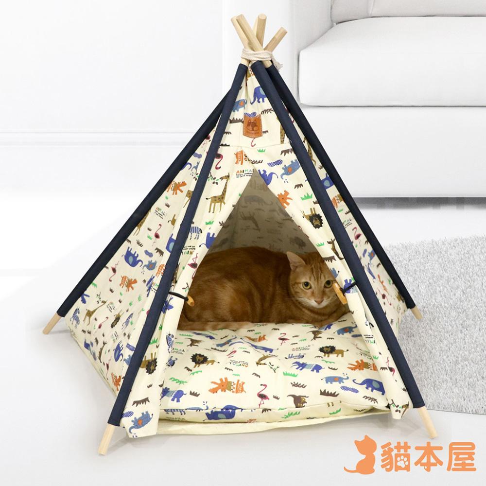貓本屋 狗窩/貓窩 可拆洗四季通用 五角型亞麻寵物帳篷-動物園