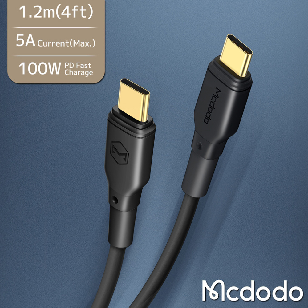 Mcdodo PD100W快充 Type-C to Type-C 傳輸充電線(黑色)-1.2M