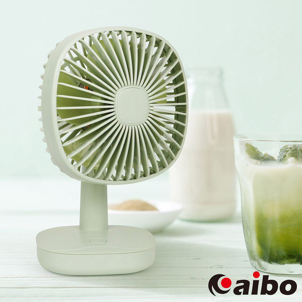 aibo AB207 USB充電 自動旋轉桌上型夜燈風扇(素雅直網)-抹茶綠