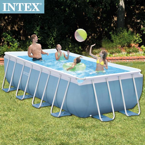 【INTEX】 長方型框架速搭大型游泳池(附濾水泵)488*244*107cm(10874L)適用6歲+(26777)
