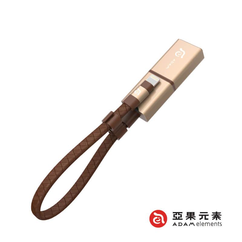 【亞果元素】Wizard 蘋果專用 microSD 三用隨身讀卡儲存碟(附64GB microSD卡) 金色