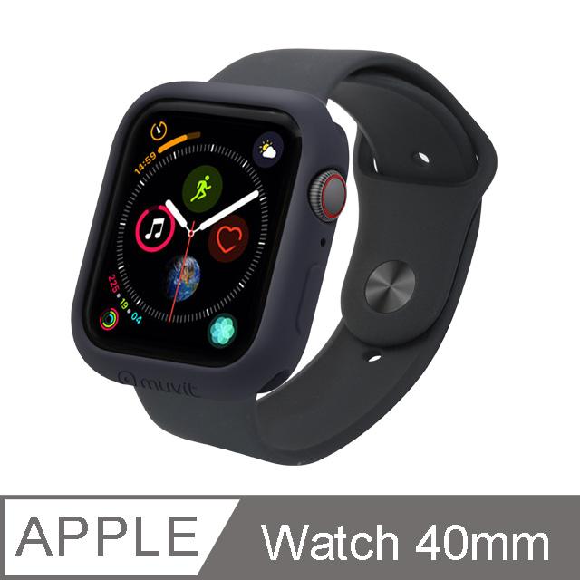 MUVIT Apple Watch Series4 (40mm)耐衝擊保護殼-黑