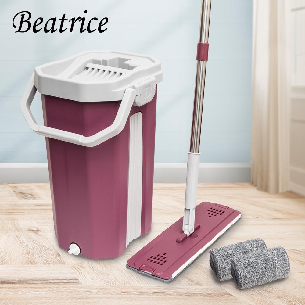【Beatrice碧翠絲】免手洗乾濕兩用平板拖把組-紅(1拖+1桶+2布)