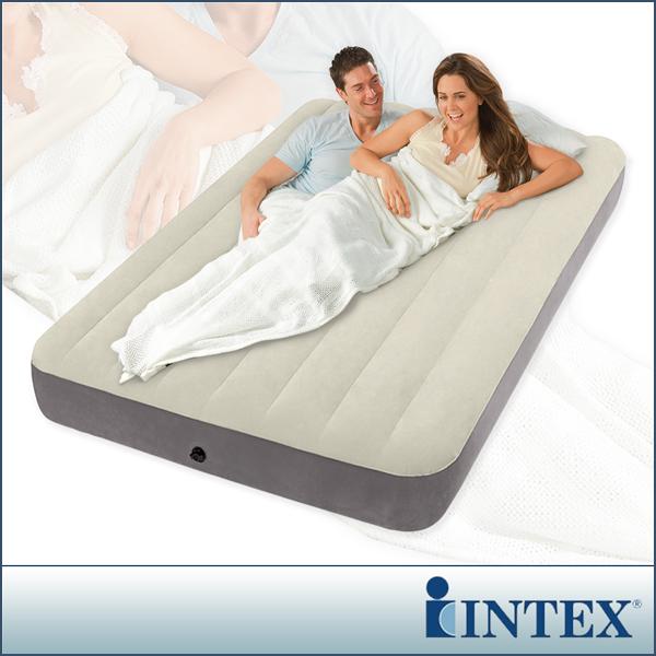 【INTEX】新型氣柱-雙人植絨充氣床墊(寬137cm)(64708)