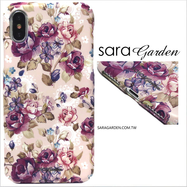 【Sara Garden】客製化 全包覆 硬殼 蘋果 iPhone7 iphone8 i7 i8 4.7吋 手機殼 保護殼 淡粉碎花蕾絲