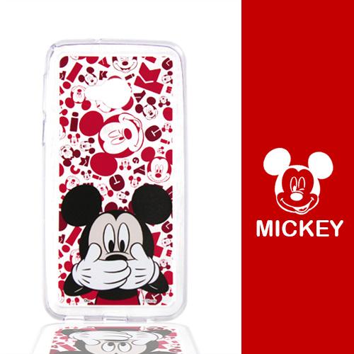 【Disney】HTC U Play (5.2吋) 摀嘴系列 彩繪透明保護軟套(米奇)